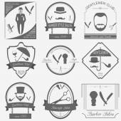 Set of vintage barber, hairstyle and gentlemen club logos. Vecto — Stok Vektör