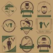 Set of vintage barber, hairstyle and gentlemen club logos. Vecto — ストックベクタ