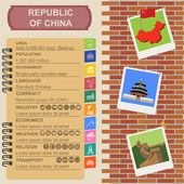Republic of China  infographics, statistical data, sights — Stock Vector
