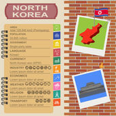 North Korea  infographics, statistical data, sights — Stock Vector