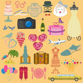 Jeu de mariage vintage, modèle de mode et les icônes des éléments de voyage — Vecteur