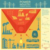 Power energy industry infographic, electric systems, set elements for creating your own infographics — Stock Vector