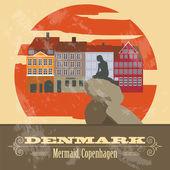 Denmark landmarks. Retro styled image — Stock Vector