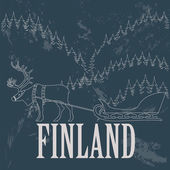 Finland landmarks. Retro styled image — Stock Vector