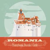 Romania landmarks. Retro styled image — Stock Vector