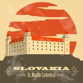 Slovakien landmärken. Retro stil bild — Stockvektor
