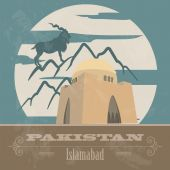 Pakistan landmarks. Retro styled image — Stock Vector