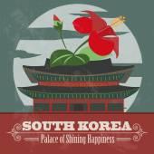 South Korea landmarks. Retro styled image — Stock Vector