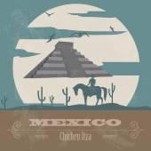 Mexico landmarks. Retro styled image — Stock Vector