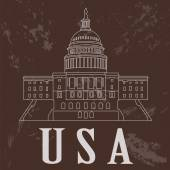 USA landmarks. Retro styled image — Vector de stock