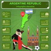 аргентинская инфографика, статистические данные, достопримечательности. — Cтоковый вектор