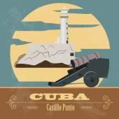 Pontos turísticos de Cuba. Estilo retrô imagem — Vetor de Stock