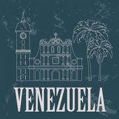 Venezuela  landmarks. Retro styled image — Stock Vector