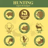 Hunting club label collecton. Grand safari logos and budges — Stock Vector