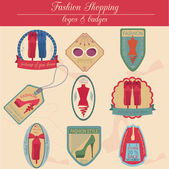 Set of vintage fashion and clothes style logos. Vector logo — Stock Vector