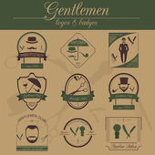 Set of vintage barber, hairstyle and gentlemen club logos. Vecto — Stock Vector