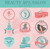 Set of vintage hairstyle, body care and cosmetology logos. Vecto — Stock Vector