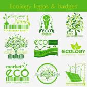 Set of ecology, environment and recycling logos. Vector logo tem — Stock Vector