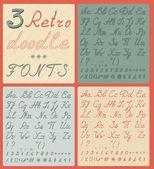 Set of three retro doodle fonts — Stock Vector