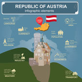 Austria  infographics, statistical data, sights — Stock Vector