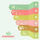 Garden work infographic elements. Working tools set. — Vector de stock