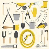Garden work icon set. Working tools — Stockvector