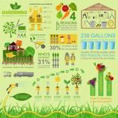 Garden work infographic elements. Working tools set. — Stock Vector