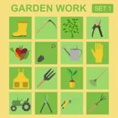 Garden work icon set. Working tools — Wektor stockowy