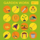 Garden work icon set. Working tools — Stock Vector