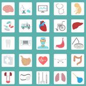 Sada ikon lékařských a zdravotnických — Stock vektor
