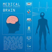Medical and healthcare infographic, Brain  infographics — Stock Vector