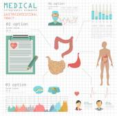 Medical and healthcare infographic, gastrointestinal tract infog — Stock Vector