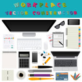 Business meeting. Working place in flat design. Constructor of y — Stock Vector