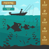 Fishing infographic elements. Set elements for creating your own — Stock Vector