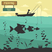 Fishing on the boat. Fishing design elements — Stock Vector