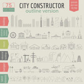City map generator. Elements for creating your perfect city. Out — Stock Vector