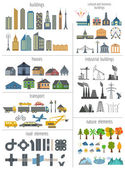 City map generator. Elements for creating your perfect city. Col — Stock Vector