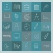 Overzicht pictogrammenset onderwijs en school. Plat lineaire ontwerp — Stockvector