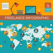 Freelance infographic sjabloon. Set elementen voor het maken van u ow — Stockvector