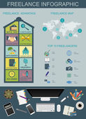 Freelance infographic template. Set elements for creating you ow — Cтоковый вектор