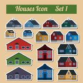 Houses icon setr. Elements for creating your perfect city. Colou — Stock Vector