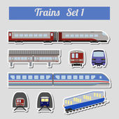 Train icon set. Subway, monorail, funicular transport. — Stock Vector