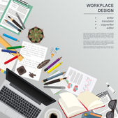 Workspace of the writer, translator, copywriter, editor. Mock up — Stock Vector