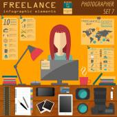 Freelance infographic template. Set elements for creating you ow — Stock Vector