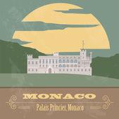Monaco landmarks. Retro styled image — Stock Vector