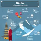 Nepal  infographics, statistical data — Stock Vector