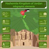Jordan  infographics, statistical data, sights — Stock Vector