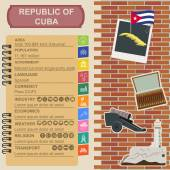 Cuba  infographics, statistical data, sights — Stock Vector