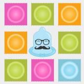 Contraception methods icon set. Birth control. Condoms. Construc — Stock Vector