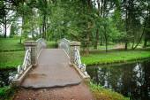 Old steel bridge over flow in the palace park — Stock Photo